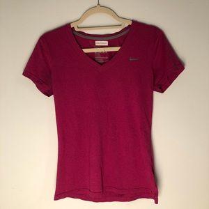 dark pink nike workout v neck t shirt